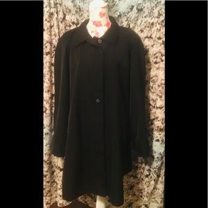 LOVELY LINED BLACK SPRING FALL TRENCH COAT 2X 3X